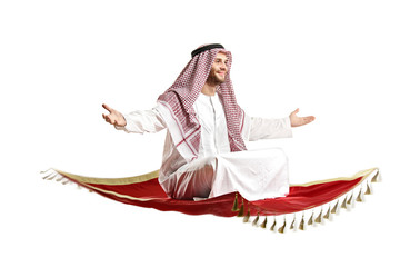 Arab person sitting on a flying carpet