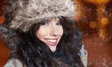 woman in night winter city