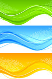 Set of wavy banner with square