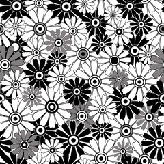 White-black  repeating floral pattern