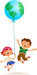 Two kids with Earth balloon
