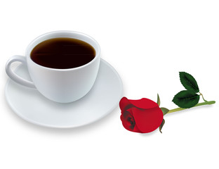 Cup of coffee and red rose. Vector.