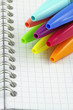 capuchons de stylos à bille colorés sur carnet à spirale