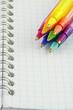 stylos à bille colorés sur carnet à spirale