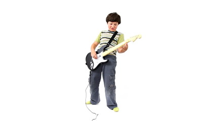 Young boy with plastic guitar playing music game, isolated