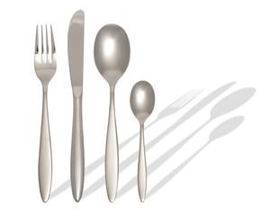 Gabel, Löffel, Messer mit Schatten und Beschneidungspfad