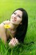 beautiful woman flower in green grass