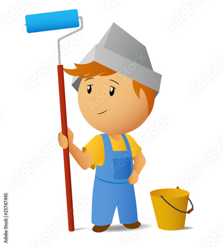 Painter with roller and bucket