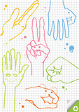 Hands vector background on squared paper