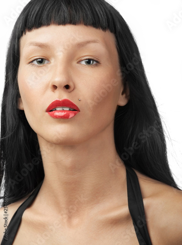 Portrait of Beautiful Young Woman on White