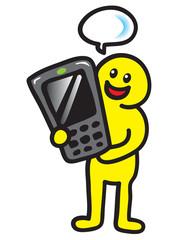 Männchen telefoniert mit Handy