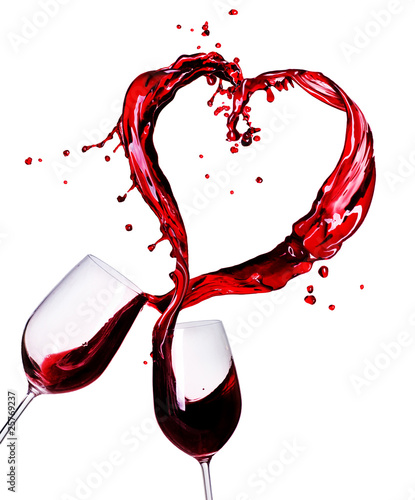 Fotobehang Alcohol Two Glasses of Red Wine Abstract Heart Splash