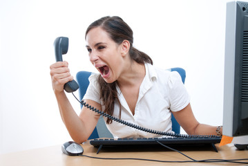 Office rage series - businesswoman received bad news