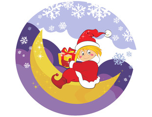 Cartoon and vector Christmas illustration. Boy with gifts.