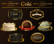 Vector vintage set. Gold frames decorative label