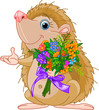 Cute little Hedgehog  giving a bouquet