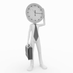3d business man with clock