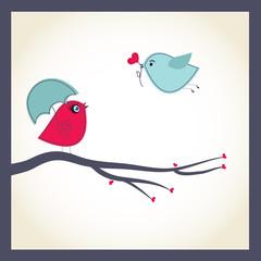 Cute vector card with birds couple