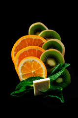 Orange and kiwi  fruit plate decoration