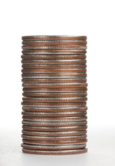 Pile of qurters coins on white background, sideways