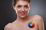 beautiful woman wearing a brooch poster