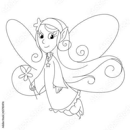 Fata con ali e bacchetta da colorare immagini e - Fata immagine da colorare ...