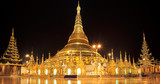 Panorama of Shwedagon pagoda at night , Rangon,Myanmar