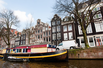 Canal house boat in Amsterdam