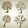 Vector set 4 of designs with tree from leafs. Thanksgiving