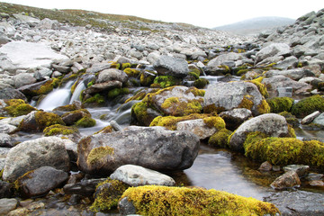 Gebirgsbach im Nationalpark Sarek, Schweden