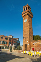 San Stefano square located at Murano Island, Italy