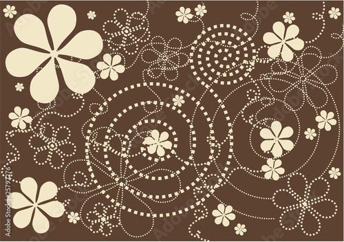 modern flowers - brown background