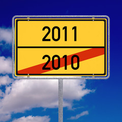German road sign showing the new year 2011