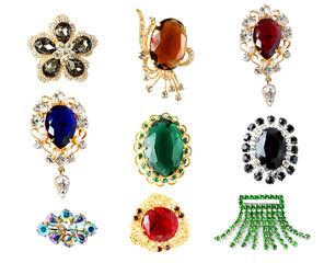 collection of vintage brooches