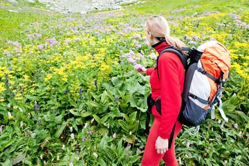 woman backpacker in High Tatras, Slovakia