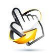 icône main, curseur de souris avec flèche