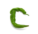 Letter C composed of green peppers poster