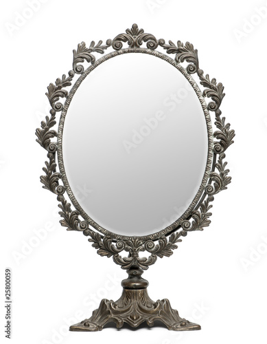 Antique mirror in front of white background - 25800059