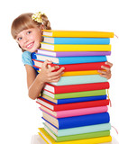 Fototapety Schoolgirl with backpack holding pile of books.