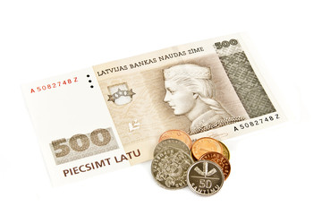 Latvian State five hundred lats banknotes.