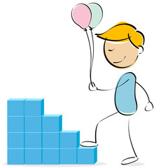 vector kid climbing blocks with balloons
