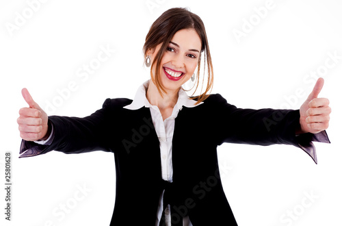 Business women showing thumbs up