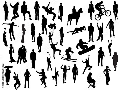 Vector pack of various people silhouettes