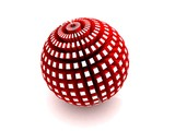 Red sphere with extruded polygons poster