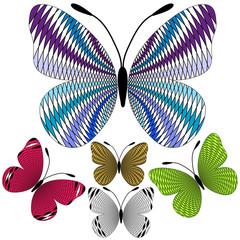 Set abstract mosaic butterflies