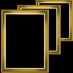 Three golden frames isolated on black background