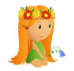 Cute little girl with flower wreath