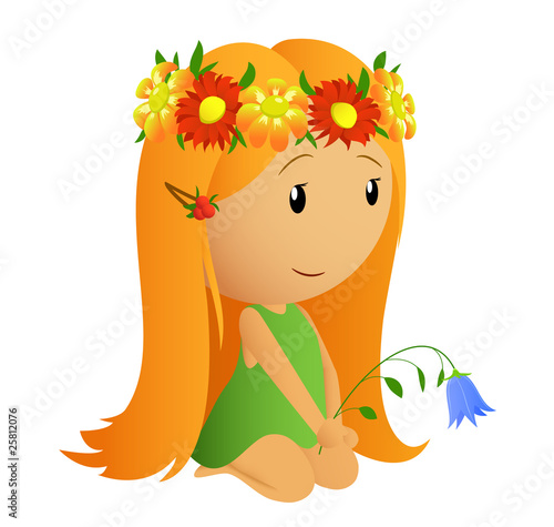 Cute little girl with flower wreath