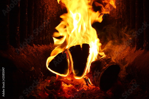 Poster Flaming firewood in russian stove