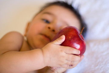 infant baby holding a red apple fruit